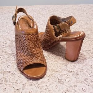 Frye Sofia Woven Leather Sling Sandals